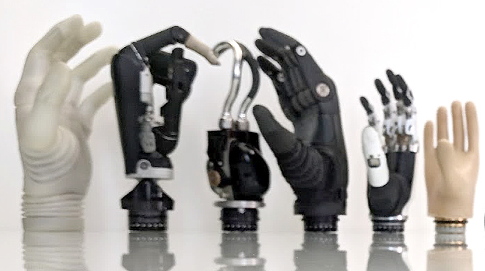 A lineup of Coapt compatible prosthetic hands