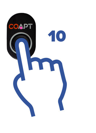 A finger holding the Coapt button for 10 seconds